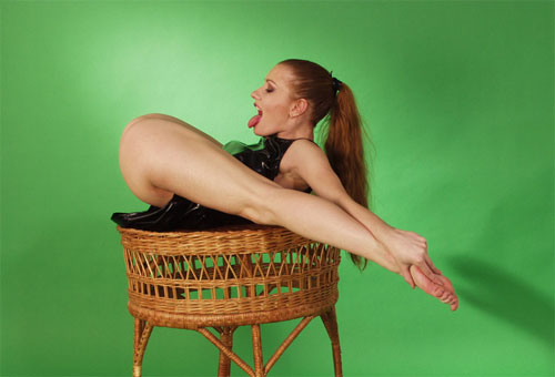 Improbable. leggy redhead contortionist all