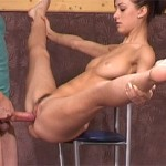 Young flexible Russian gymnast gets banged hard