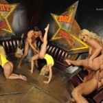 Gymnastic sex gallery where flexy blonde gives a head